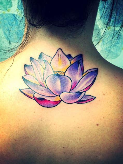 fiore designs pretty purple lotus flower tattoos
