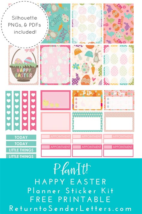 free printable easter planner stickers return to sender letters to the world planit happy
