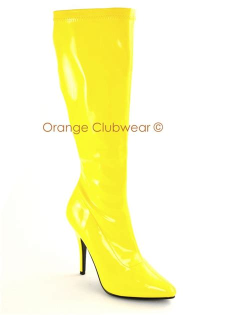 yellow knee high boots pleaser 2000 bright yellow knee high boots 5