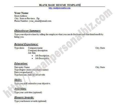 Basic Blank Resume Outline by To Print Basic Resume Template With Outline Lay