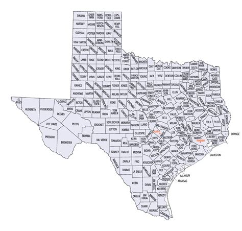 texas county map with city names texas county map