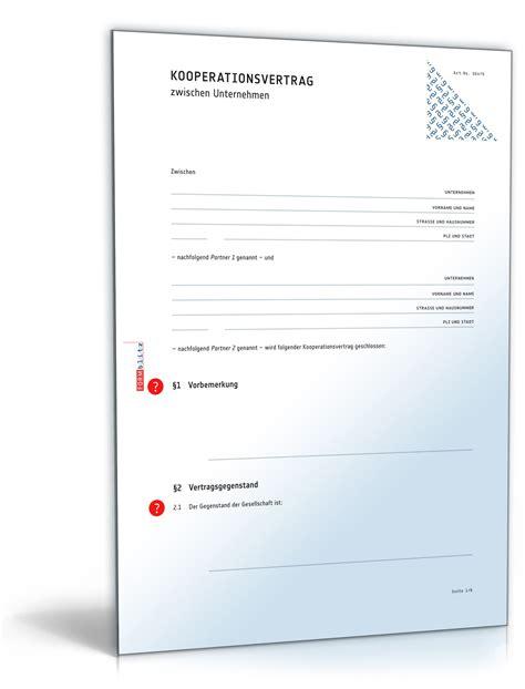 Garten Mieten Vertrag by Kooperationsvertrag Muster F 252 R Kooperationen Firmen