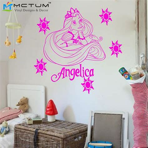 disney princess bedroom stickers personalized princess cartoon rapunzel tangled wall
