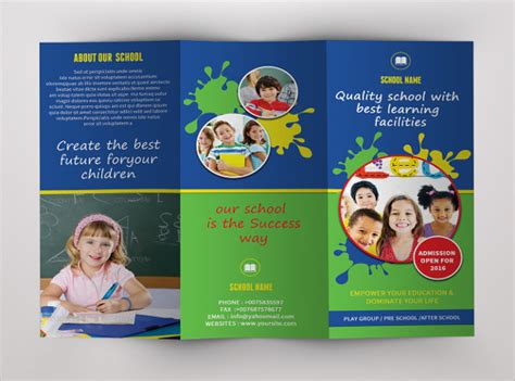 school brochure templates learning center elementary
