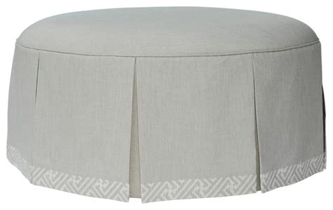 round tufted ottoman with skirt round ottoman with waterfall skirt traditional