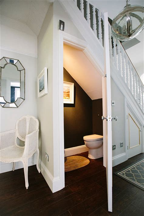 Stairwell Chandeliers Under Stairs Toilet Contemporary Powder Room London