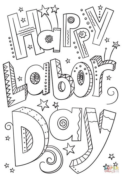 printable coloring pages labor day happy labor day doodle coloring page free printable