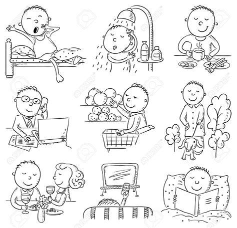 imagenes de verbos en ingles blanco y negro 35136913 hombre de la historieta actividades diarias set