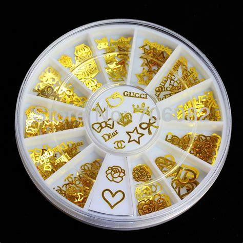 Gold Nail Sticker Decorations 180pcs gold nail metal sticker decoration acrylic tips metal slice wheel tiny mixed design