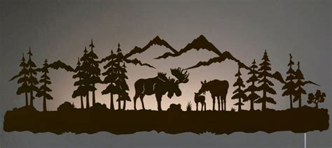 Moose Wall Decor by 42 Quot Moose Family Led Back Lit Lighted Metal Wall
