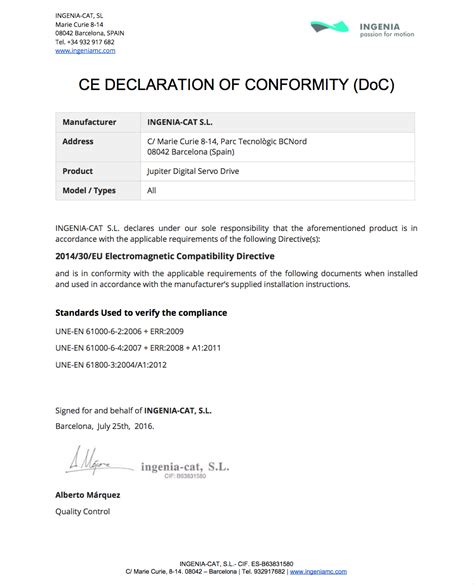 statement of conformity template image collections