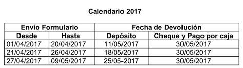 devolucion de inpuestos fecha de devolucion 2016 calendario operaci 211 n renta 2017 las fechas de pago de la