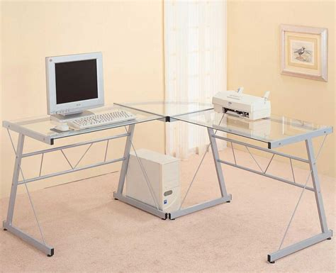 L Shaped Glass Top Computer Desk Modern Glass Desks For Work