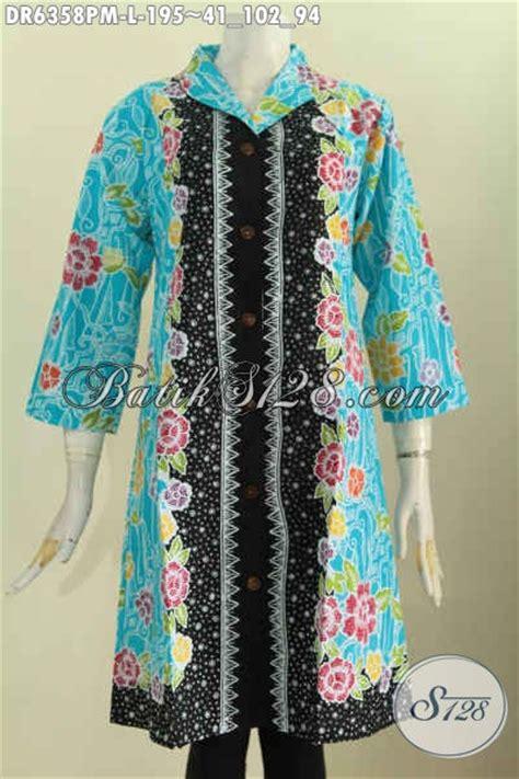 Dress Batik Tulis Biru pakaian batik wanita terbaru dress batik warna biru muda