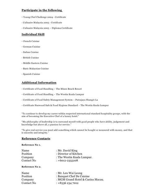 resume format for chef de partie 28 images great