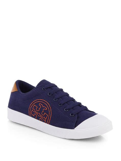 burch shoes lyst burch wally canvas logo sneakers in blue