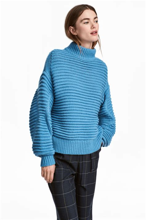 Hm Sweater Invert Fit Xl knit wool blend sweater light blue sale h m us