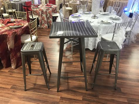 Bistro Table With Stools by Silver Bistro Table With 2 Stools Rentals