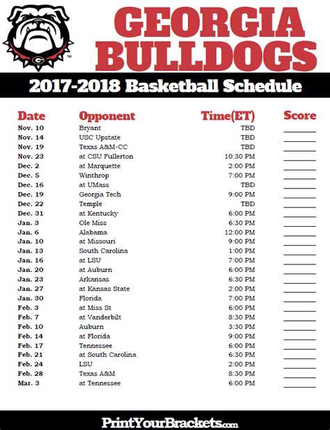 printable uga schedule printable georgia bulldogs 2017 2018 basketball schedule