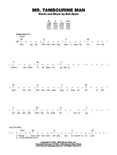 strumming pattern simple man mr tambourine man sheet music by bob dylan ukulele with