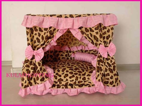 Puppy Pet Bed House L Pink princess pet cat handmade bed house leopard print with