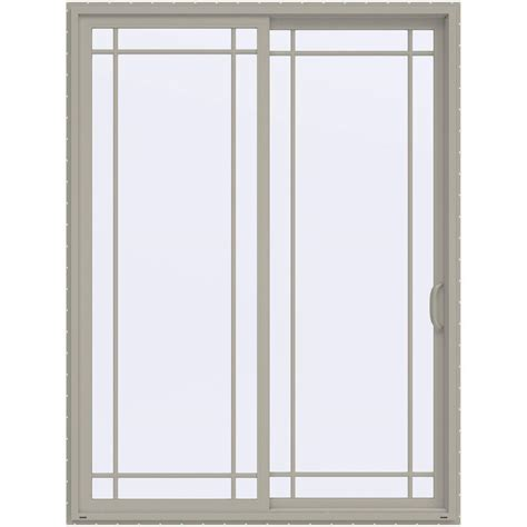 96 Patio Door Jeld Wen 72 In X 96 In V 4500 Desert Sand Prehung Right Sliding 9 Lite Vinyl Patio Door