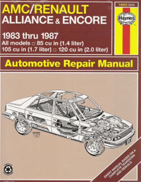 what is the best auto repair manual 1983 mazda rx 7 electronic toll collection 1983 1987 amc renault alliance and encore haynes repair manual