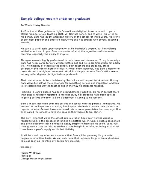 Letter Of Recommendation School sle letter of recommendation for grad school