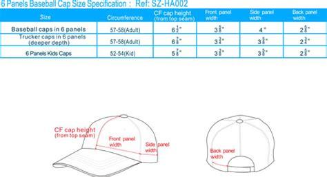 5 panels baseball cap size spec