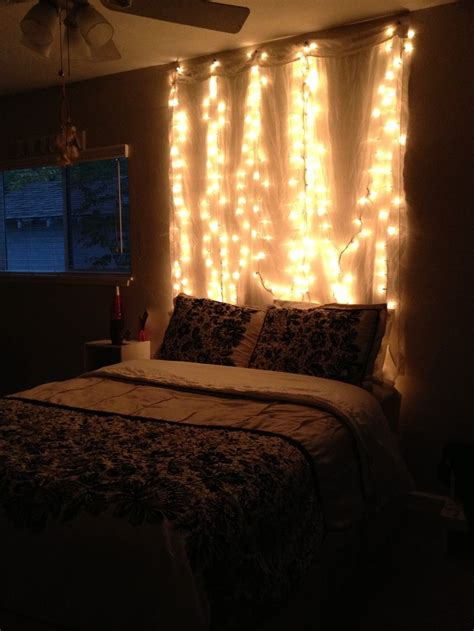 String Lights Bedroom Ideas My Light Up Headboard For The Home Pinterest Lights Curtains And Headboards