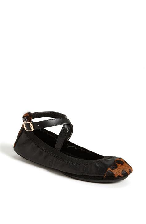flat shoes foldable yosi samra foldable ballet flat in black black leopard