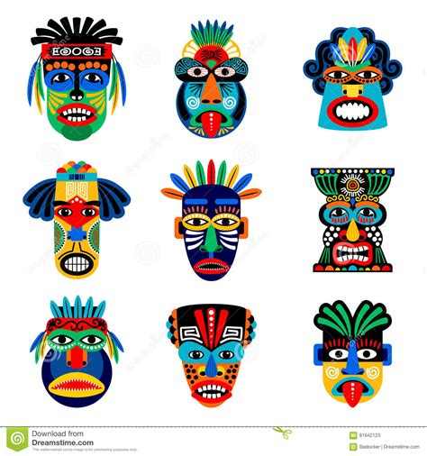 printable zulu mask zulu or aztec mask icons stock vector illustration of