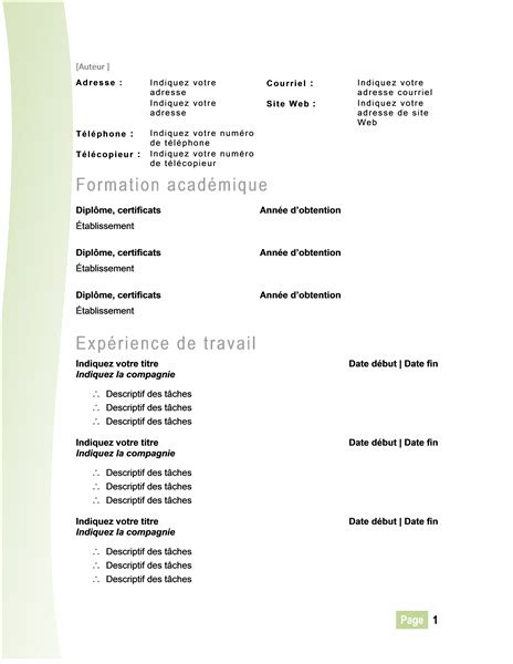 Cv Francais Simple by Telecharger Le Modele Environ Modele De Cv Etudiant