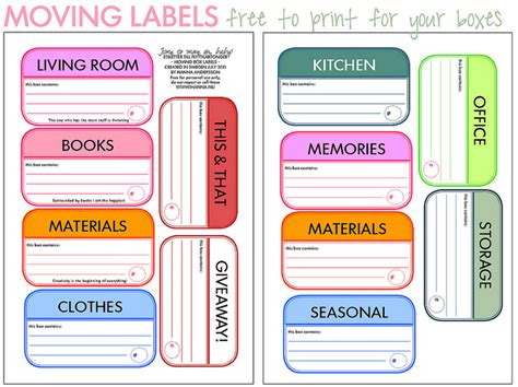 Free Printable Moving Labels Popular Sles Templates Labels For Boxes Templates