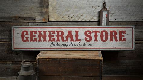 general store location wood sign custom store city state