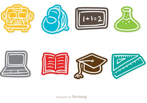 doodle icons free vectors school doodle vector icons free vector