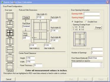 Cabinet Door Software Cabinet Door Calculator It Will Guide You To Complete A Single Cabinet Door Or