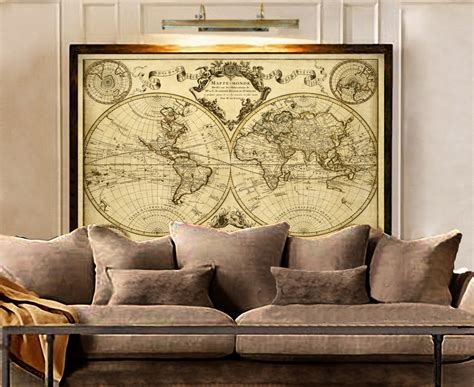 antique looking home decor 1720 old world map map art historic map antique style