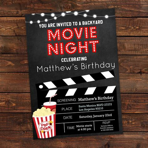 backyard movie night invitations printable backyard movie night party invitation movie night