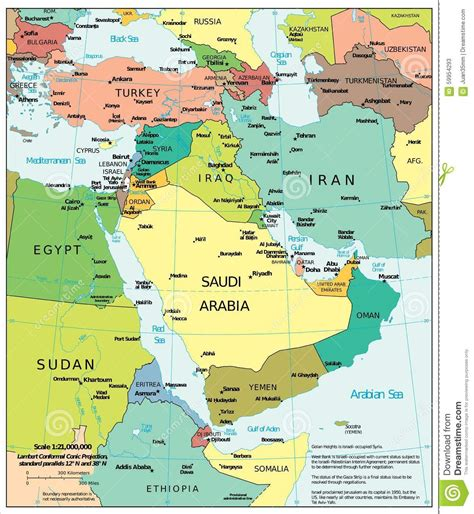 middle east map regions middle east region political divisions map stock