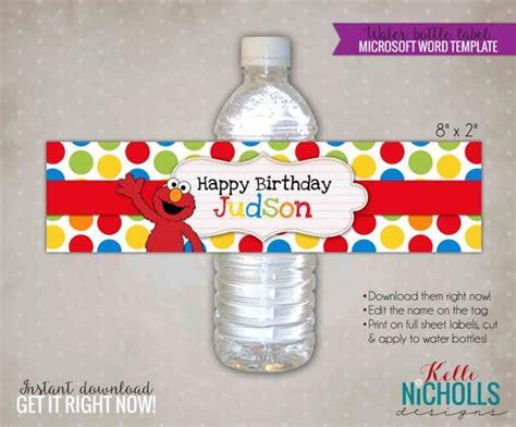 Custom Elmo Water Bottle Label Template By Kellinichollsdesigns Personalized Water Bottle Labels Template