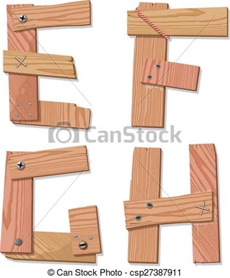 vector clip of rustic wooden font alphabet letters