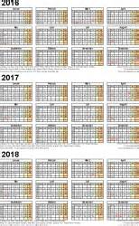 3 Year Calendar 2018 Three Year Calendars For 2016 2017 2018 Uk For Excel