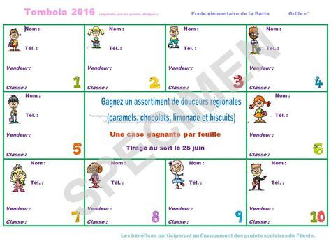 Grille De Tombola ecole 233 l 233 mentaire la butte besan 231 on tombola de l 233 cole