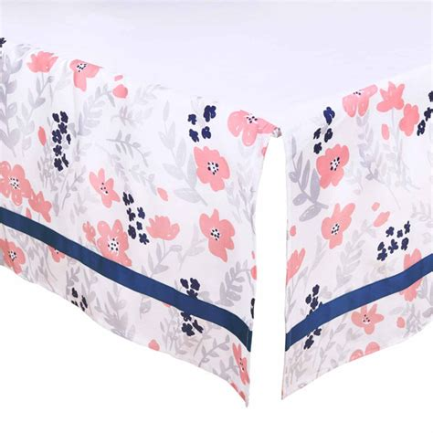 Coral Colored Crib Sheets by Floral Dot Crib Starter Set In Coral Navy