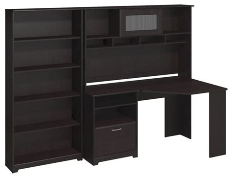 corner desk with bookcase bush cabot corner desk with hutch and 5 shelf bookcase in espresso oak by cymax