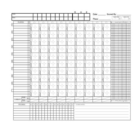 free printable baseball score sheet