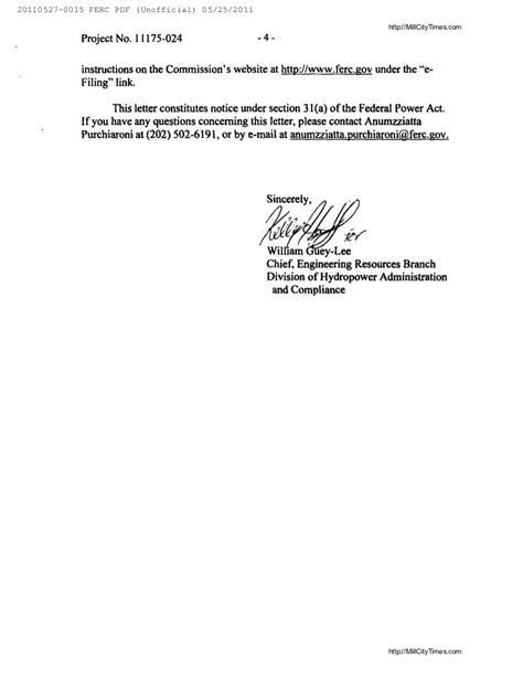 Cancellation Letter To Telephone Company Ferc Termination Letter To Crown Hydro