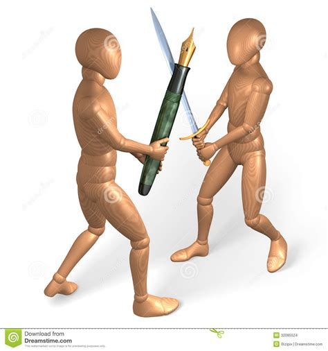 z figure fight two figures fighting each other with pen and sword stock