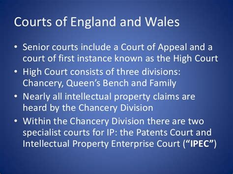 high court of justice queen s bench division enforcing intellectual property rights in england and wales